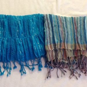 Two sparkling scarves